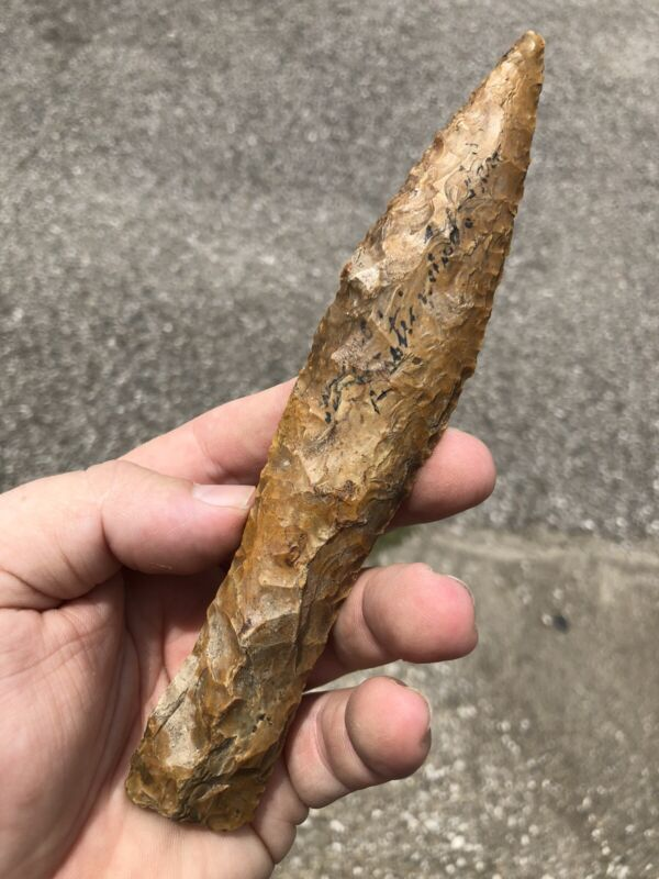 "NICE 6 7/8"" LONG DANISH FLINT DAGGER / KNIFE From Europe / Denmark"