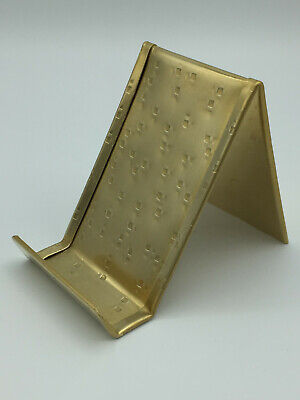 Vertical Solid Brass Business Card Holder Textured Anniversary Gift Made In Usa