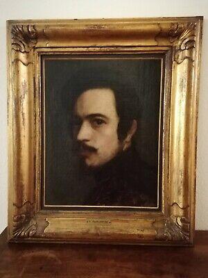 Quadro d'epoca con ritratto, olio su tela, con cornice d'epoca.