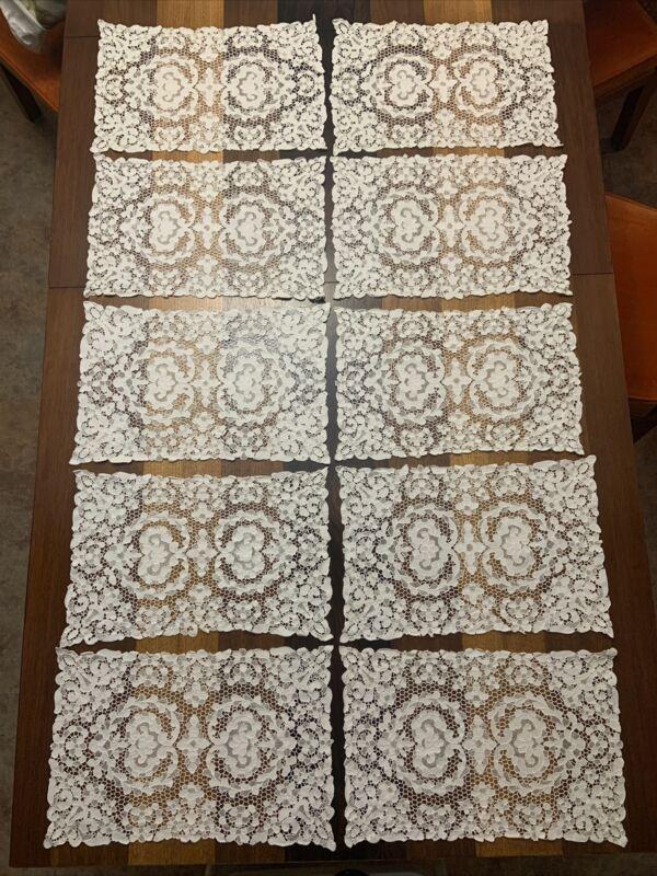Antique Point De Venise Italian Figural Needlelace White Placemats Set of 10