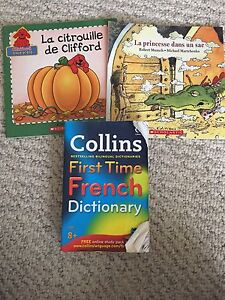 First time French dictionary and 2 French story books