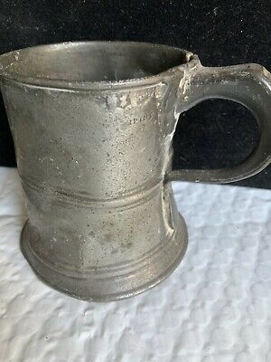 ANTIQUE EARLY VICTORIAN 1/2 PINT PEWTER TANKARD GOOD INTERESTING TOUCH MARKS