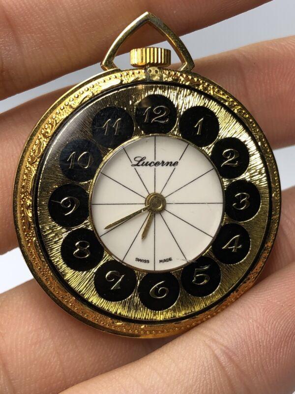Beautiful Vintage  Ladies Lucerne Pendant Watch - Runs!!  Necklace Watch