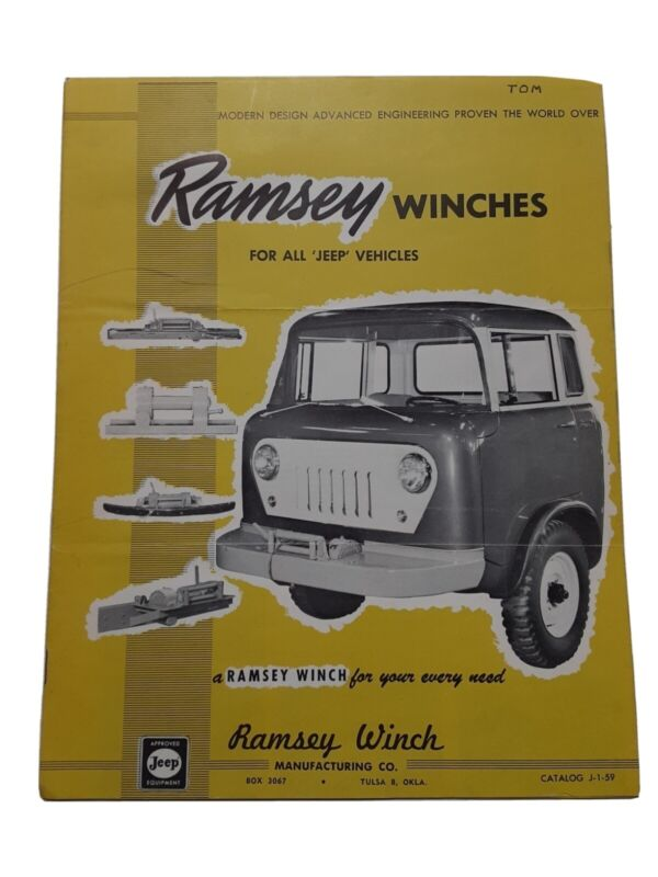 Ramsey Winches for all Willys JEEP Vehicles  Advertising Catalog Booket 1959