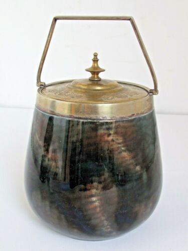 Antique Biscuit Barrel Jar Porcelain Ceramic with Unusual Glaze