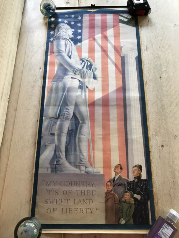 """Vintage George Washington Poster Fourth of July Presidents Day USA 12""""x26"""""""