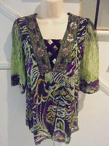 VERS AUSTRALIA NWOT SIZE 8 BLACK GREEN PURPLE SILK BEADED LINED TOP