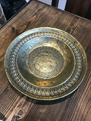Antique vintage bronze engraved plate dish decorative fruit bowl house decor