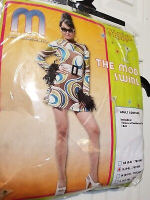 Pmg Halloween Costume (ADULT SEXY HIPPIE MOD SWIRL PMG HALLOWEEN COSTUME ADULT SMALL 4-6 PETITE)