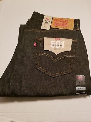 32ccdbdf Levi's 501 Button Fly Shrink-To-Fit Mens Jeans Black Rigid NWT W36 L32