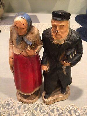 JEWISH OLD MAN & WOMAN figurines / possibly Baubie & Zadie