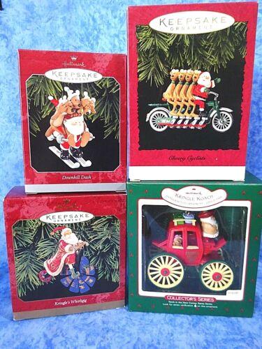 Set of 4 Hallmark Keepsake Ornaments - All Santaa on Bikes/In Car/Skiing - NIB
