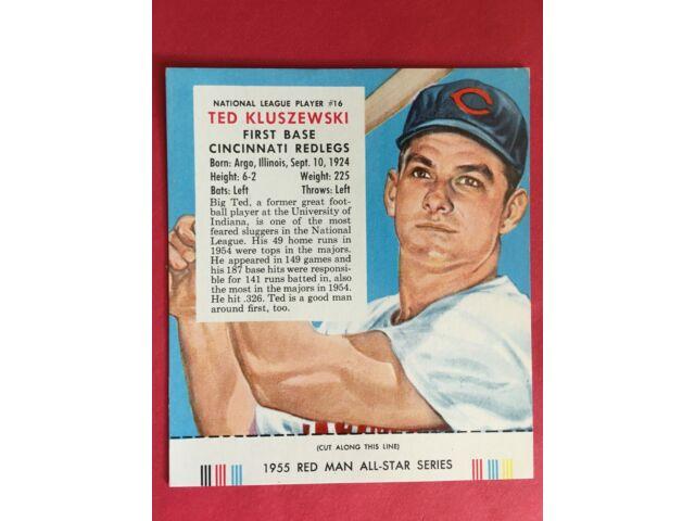 1955 Red Man TED KLUSZEWSKI #16 w/Tab attached NM/MT condition