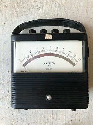 Vintage Weston 901 Amperes Dc Amp Meter 0-5 Lab Unit Steampunk Art Deco