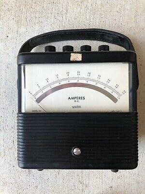 Vintage Weston 901 Amperes Dc Amp Meter 0-5 Lab Unit Steampunk Art Deco