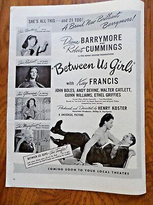 1942 Movie Ad Between Us Girls Barrymore & Cummings