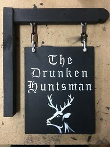 Wooden Hanging PersonalIsed Home Pub Bar Sign Man Cave Shed Cabin Text Only