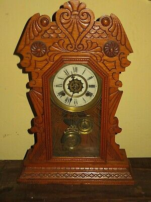 "Antique Waterbury ""Topka"" oak mantle clock - excellent condition!"