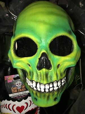 Bonejangles Retro Green Halloween Adult Skull Mask For Haunted House