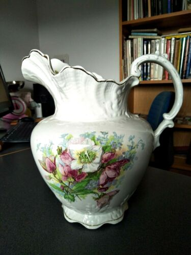 ANTIQUE VICTORIAN WATER JUG PITCHER POTTERY CIRCA 1880s