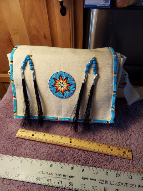 Native American Styled Beaded Canvas Bag