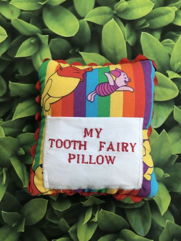 Tooth Fairy small pillow with Pooh piglet Cotton New Handmade keepsake w/ pocket