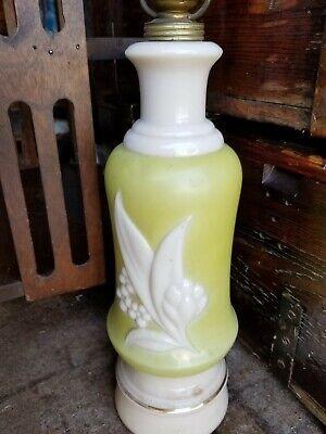 Table Lamp BASE -Vintage Mid Century MCM  Green Flower Milk Glass BASE NO SHADE