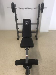 Gym bench and weight set