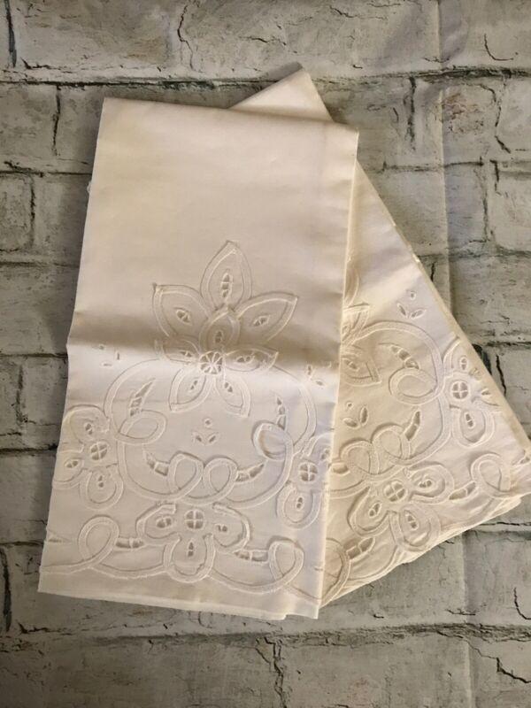"FAB! Vintage Cream Cotton w Eyelet Embroidery Pair Handmade Pillowcases 27""x 20"""