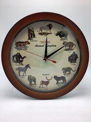 Animal Kingdom Wall Clock W/Sound-Brown Color-11''l X 2''h X 11''w Free Shipping