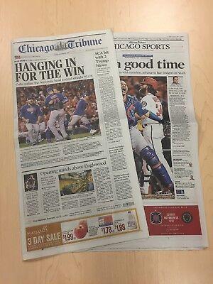 Chicago Tribune Newspaper 10 13 17 Cubs Advance  2017 Playoffs  Cubs Newspaper