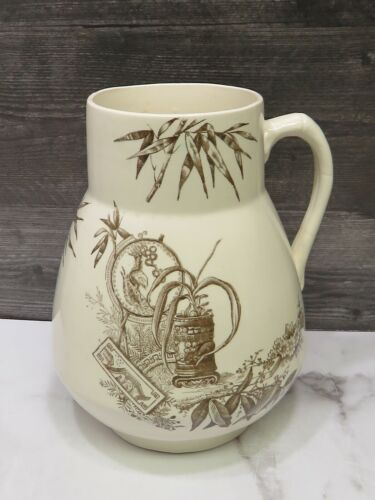 Large Antique Aesthetic Movement Brown Transferware Staffordshire Pitcher 10""