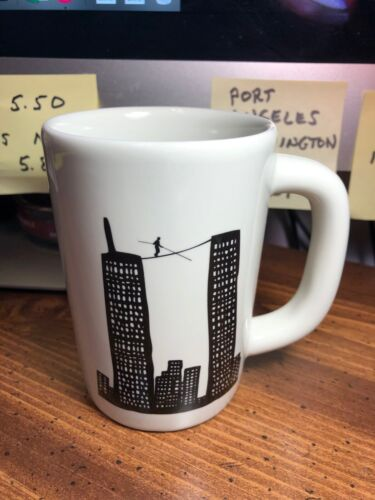 RARE ~ World Trade Center Tight Rope Walker Mug ~ Philippe Petit / 7 August 1974