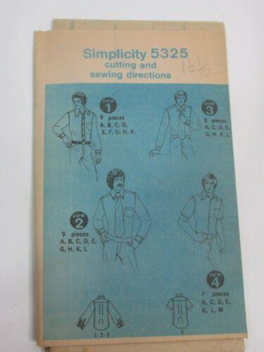 Vintage Simplicity 5325 Mens Size 16-1/2 Shirts 1972