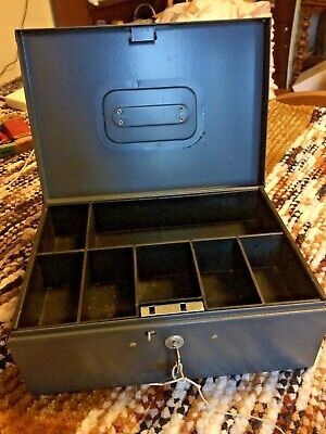 Vintage Large Gray Steelmaster Money Box With Tray And Keys