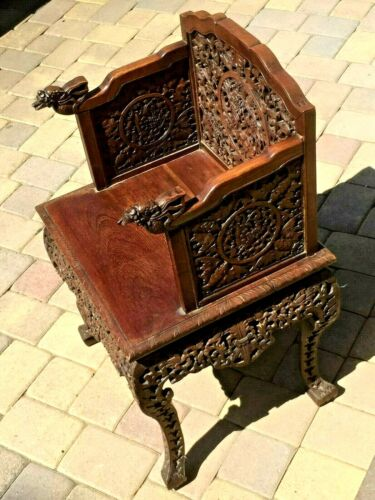 GORGEOUS CHINESE ANTIQUE HAND CARVED HUAN GHUALI? WOOD ARMCHAIR DRAGON DESIGN