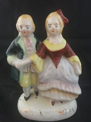 "Vintage Figurine Occupied Japan Couple In Colonial Outfits 5"" Hand Painted Ex Co - Colonial Outfits"
