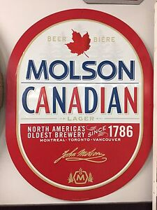 Molson Canadian beer tin sign