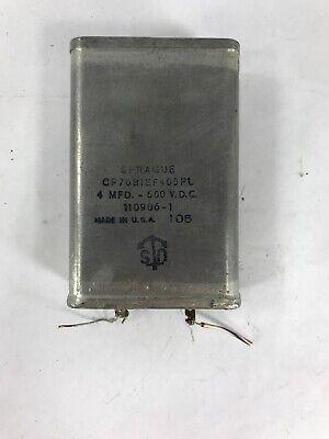 Sprague Cp70bief405pl 4mfd 600 Vdc 110906-1 Oil Capacitor