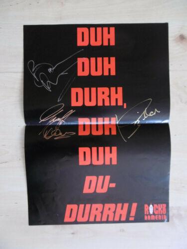 Bruce Dickinson, Ian Gillan & Geoff Downes Autogramme signed Poster gefaltet