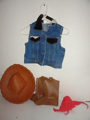 DENIM COWGIRL DRESS UP/HALLOWEEN COSTUME WITH HAT, SCARF, BOOT HOLDERS-SIZE MED - Halloween Costume Cowgirl Boots