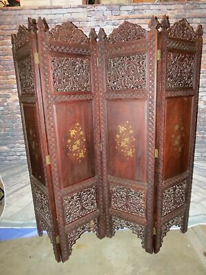 Rosewood Carved Chinese Folding Screen Lacquer Miniature Furniture 6 Panel Decor