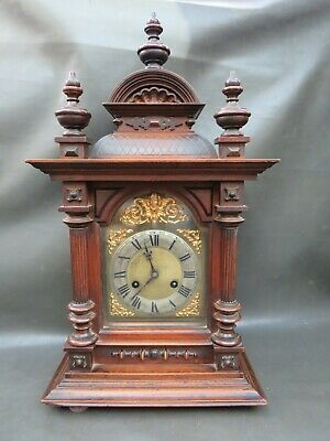 Vintage ornate wooden Junghans bracket clock with chimes for restoration