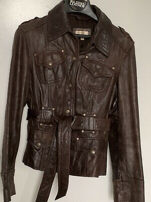 WILSONS BROWN GENUINE LEATHER BELTED MOTO JACKET WOMENS SIZE M/L LINED