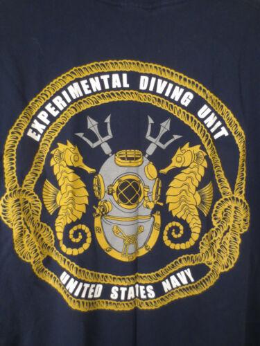 US NAVY Experimental Dive Unit Blue T Shirt Size Large