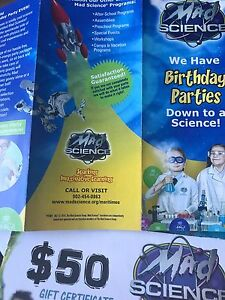 Mad science birthday party certificate