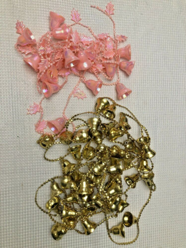 Vintage Plastic Bell Christmas Garland Pink Gold Lot Of 2