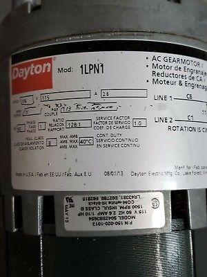 Dayton Model 1lpn1 Gear Motor 13 Rpm 110 Hp 115v 1l488 With Brake