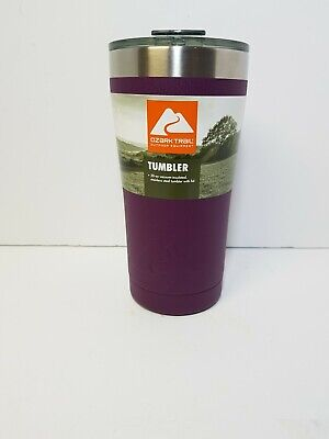 PLUM OZARK TRAIL 20 OZ DOUBLE WALL STAINLESS STEEL TUMBLER WITH CLOSEABLE LID for sale  Shipping to South Africa