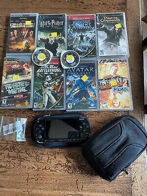 Sony PlayStation Portable Value Pack - Black (PSP-1001K) Games, Case, 4Gb Memory